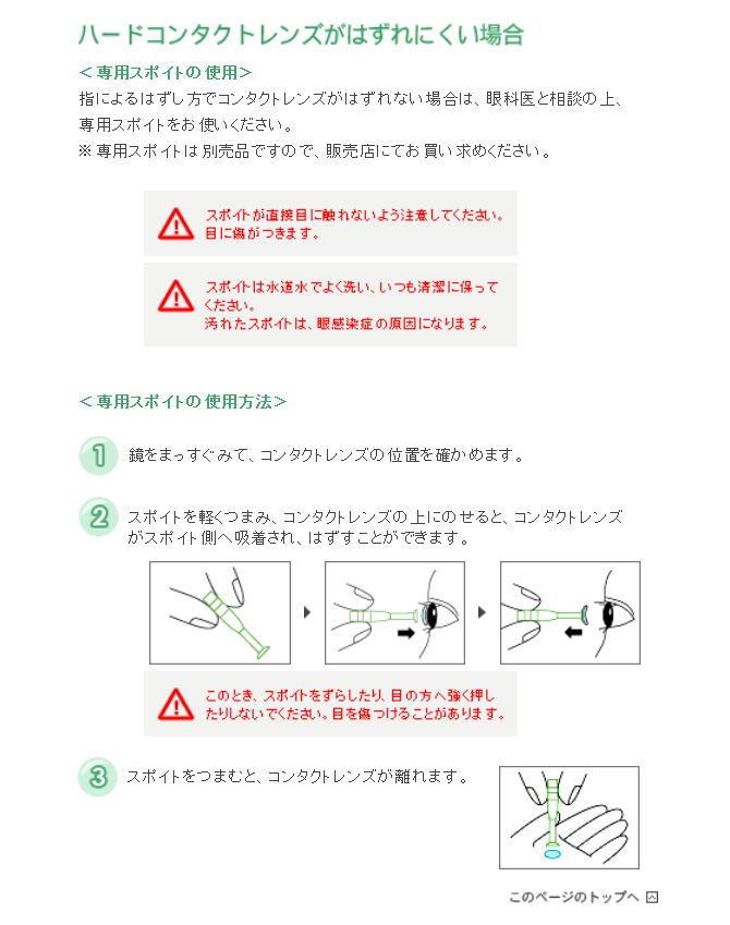 ハードコンタクト用スポイトの説明